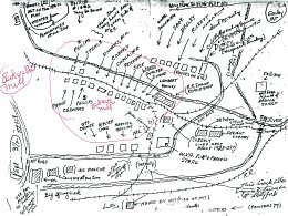 Dave Sharp drew this area map of things our time might not quite recall.  Can you spot Harmon's log house (built by his father William III)?